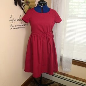 Vintage style cotton bright red dress